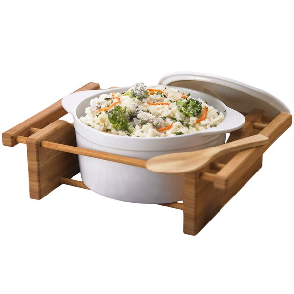 Bamboo and Stoneware 2.5 Qt. Oval Casserole by Creative Home