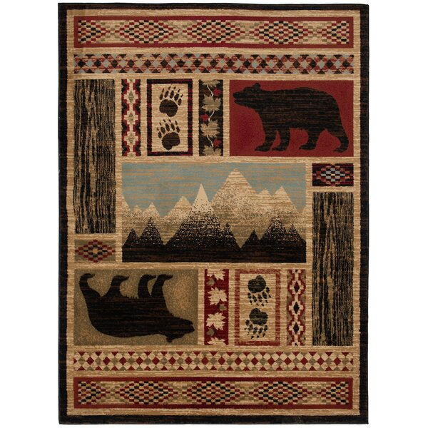 Iliana Bear Black/Red/Biege Area Rug by Millwood Pines