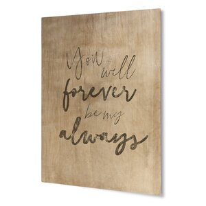 Forever My Always Textual Art on Plaque by KAVKA DESIGNS