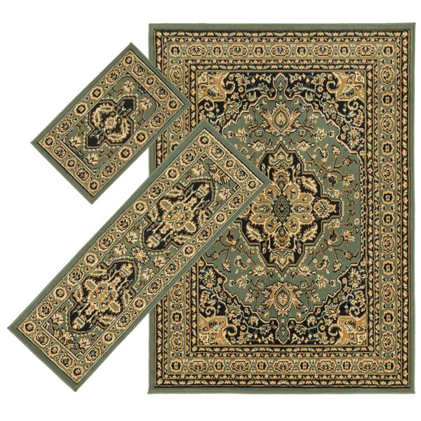 Landana 3 Piece Green/Tan Area Rug Set by Threadbind