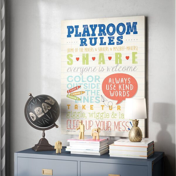 Farlow Playroom Rules Notebook Paper Canvas Art by Harriet Bee