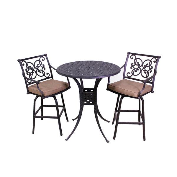 Elzada 3 Piece Sunbrella Bar Height Dining Set with Cushions by Fleur De Lis Living