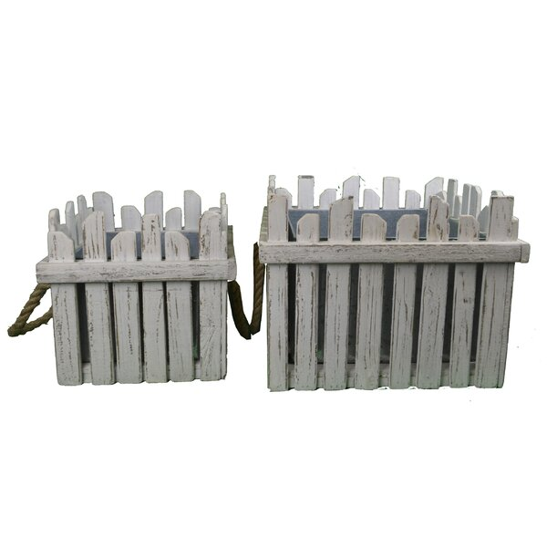 Earleen Square Wood Planter Box with Planks Set (Set of 2) by Highland Dunes