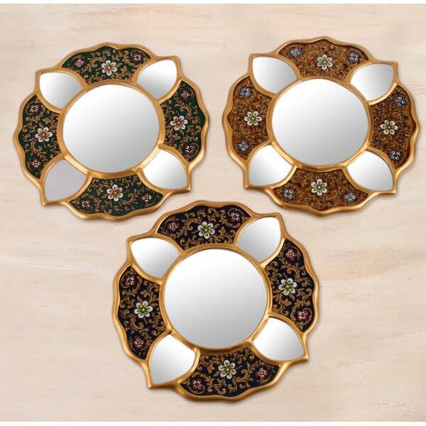 Floral Wall Mirror (Set of 3) by Novica