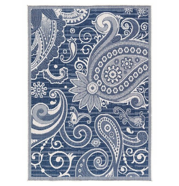 Hinnant Reversible Blue Indoor/Outdoor Area Rug by Winston Porter