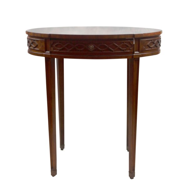 Mahogany and Parquetry Oval Occasional End Table by Pasargad NY