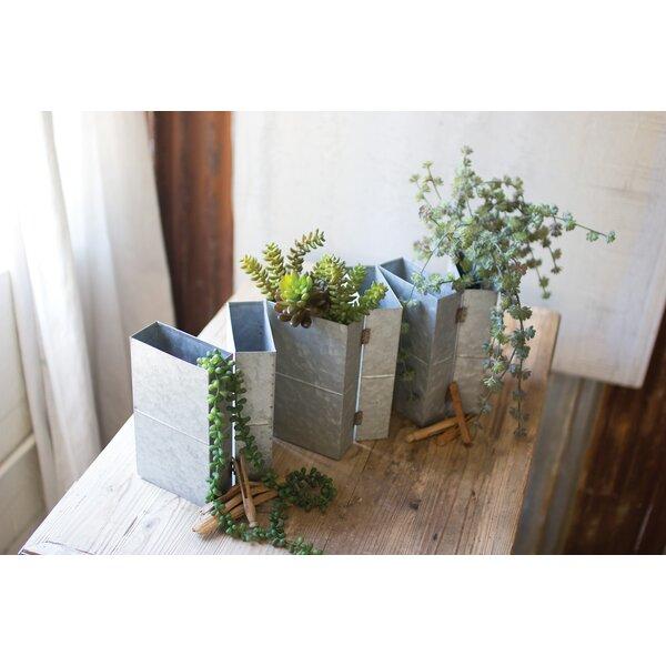 Wixom Folding Galvanized Metal Pot Planter (Set of 6) by Gracie Oaks