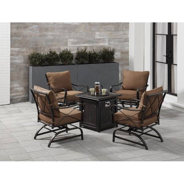Rhonda 5-Piece Fire Pit Chat Set in Desert Sunset with 4 Cross-Back Rockers and a 26-In. Square Fire Pit Table by Fleur De Lis Living