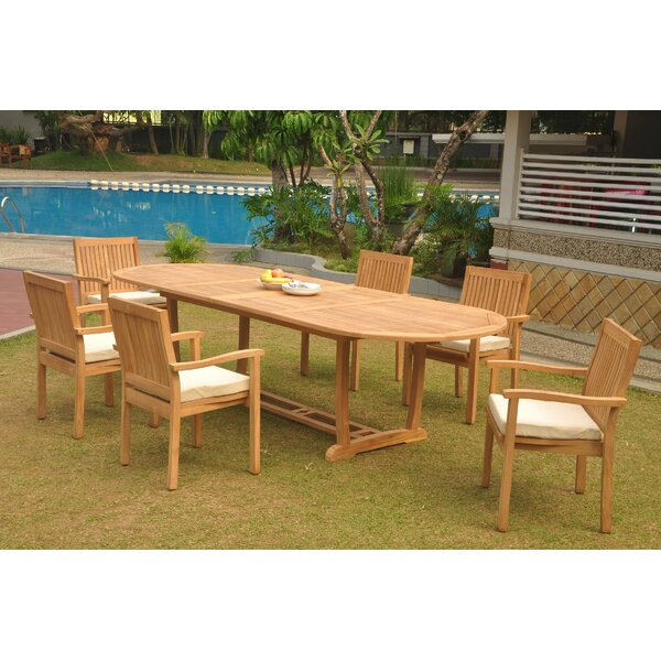 Manseau 7 Piece Teak Dining Set by Rosecliff Heights