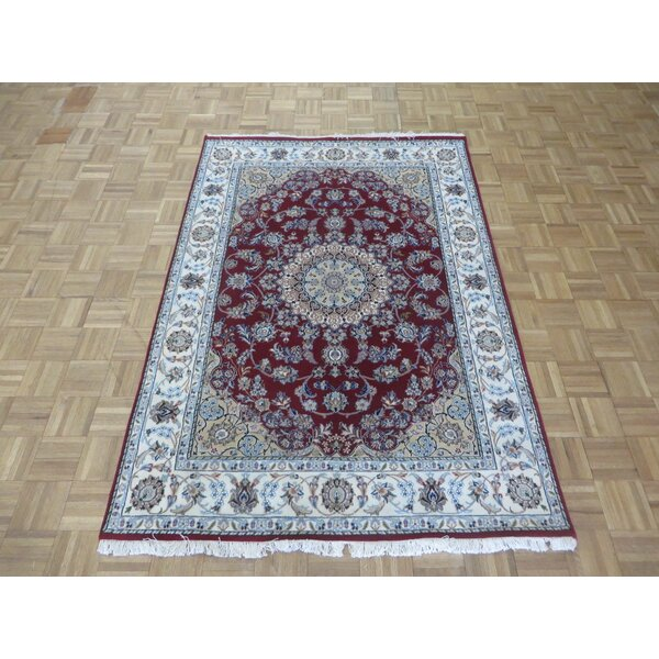 One-of-a-Kind Eleonor Fine Nain Hand-Knotted Red/Ivory Area Rug by World Menagerie