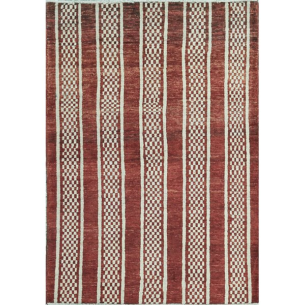 One-of-a-Kind Afghan Gabbeh Hand-Knotted Wool Rust Red Area Rug by Bokara Rug Co., Inc.