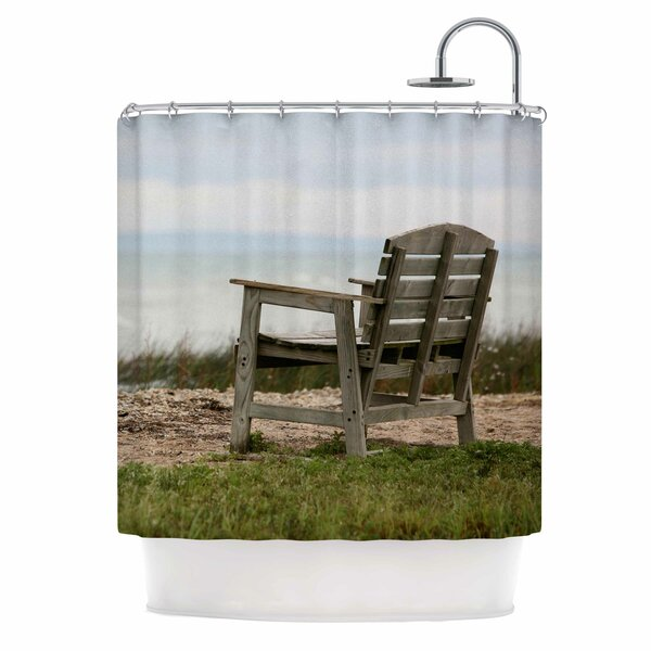 Angie Turner Beach Bench Shower Curtain by East Urban Home