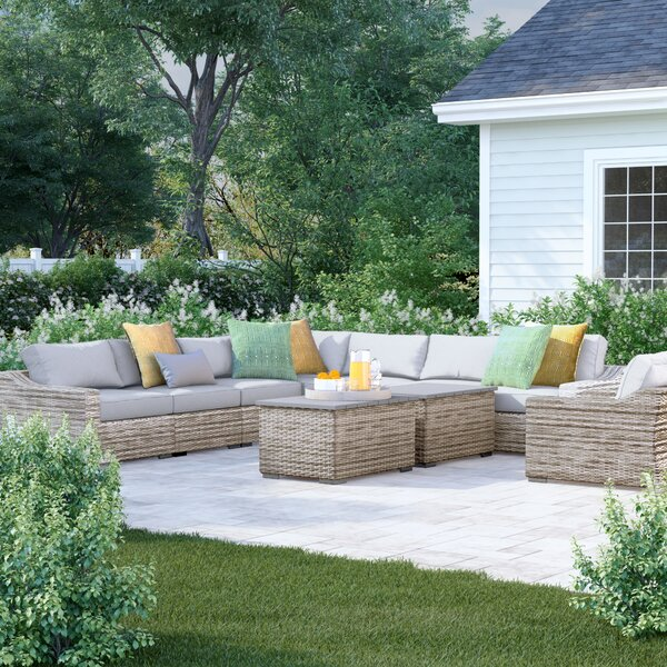 Dayse 10 Piece Rattan Sectional Seating Group with Cushions by Sol 72 Outdoor