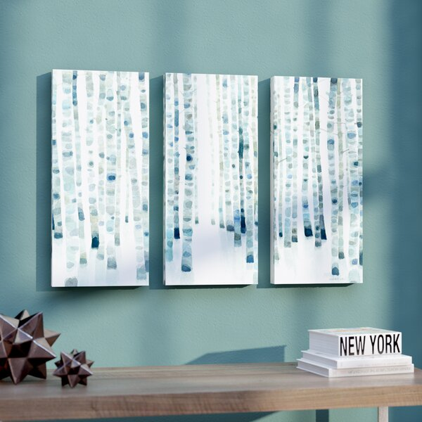 Neutral Birch Grove 3 Piece Painting Print on Wrapped Canvas Set by Ivy Bronx