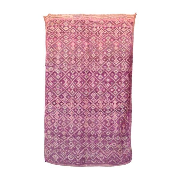 Boujad Vintage Moroccan Hand Woven Wool Pink Area Rug by Indigo&Lavender