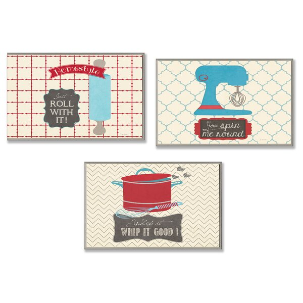 Roll, Spin and Whip Kitchen Utility 3 Piece Textual Art Wall Plaque Set by Stupell Industries