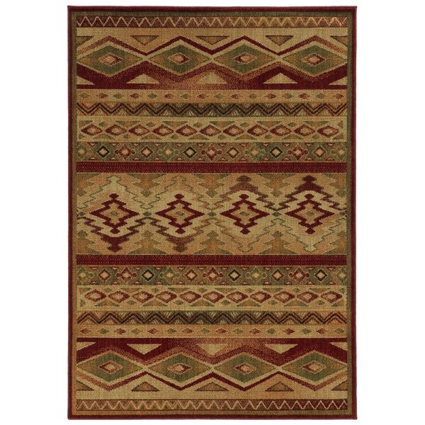 Oakfield Brown/Red Area Rug by Loon Peak