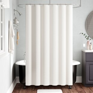 Freman White Cotton Home Shower Curtain