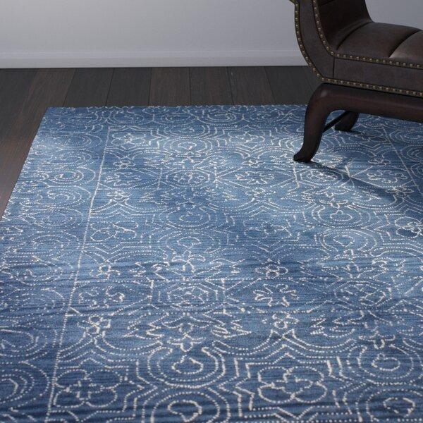 Omar Deep Blue Tufted Wool Area Rug by Birch Lane™
