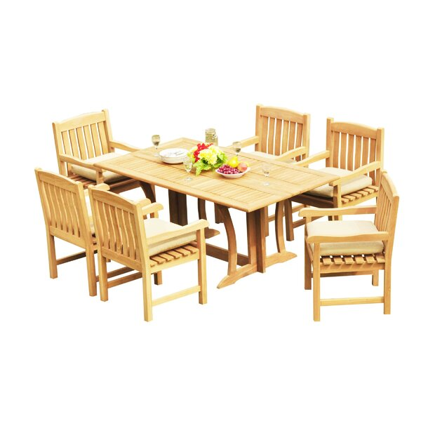 Mastropietro 7 Piece Teak Dining Set by Rosecliff Heights