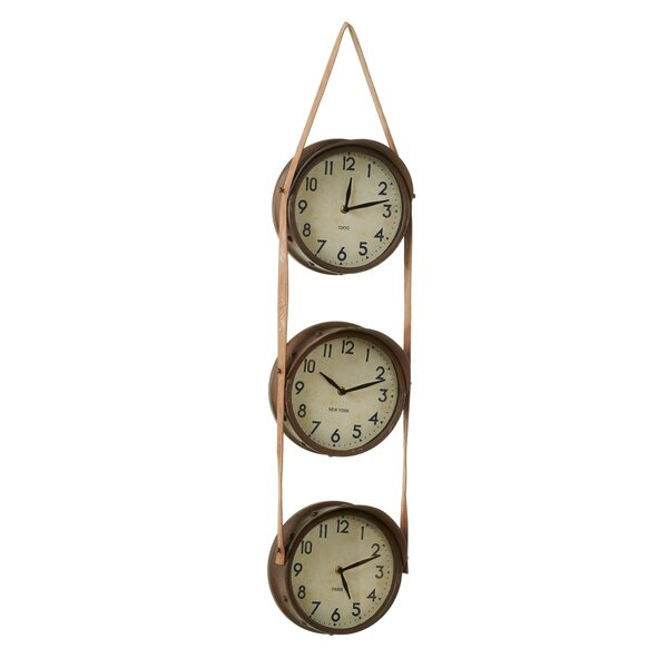 Doolan Rusted Time Zone Wall Clock by August Grove