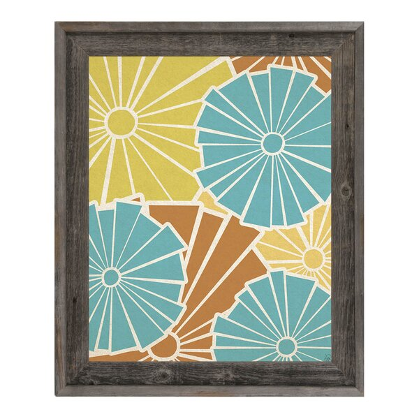 Broken Flowers Blue and Yellow Framed Graphic Art on Canvas by Click Wall Art