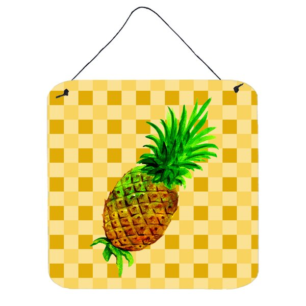 Richland Pineapple Whole on Basketweave Metal Wall Décor by Bay Isle Home