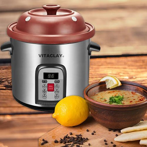 6.5 qt. New Smart Stoneware Stock Pot with Lid by Vitaclay