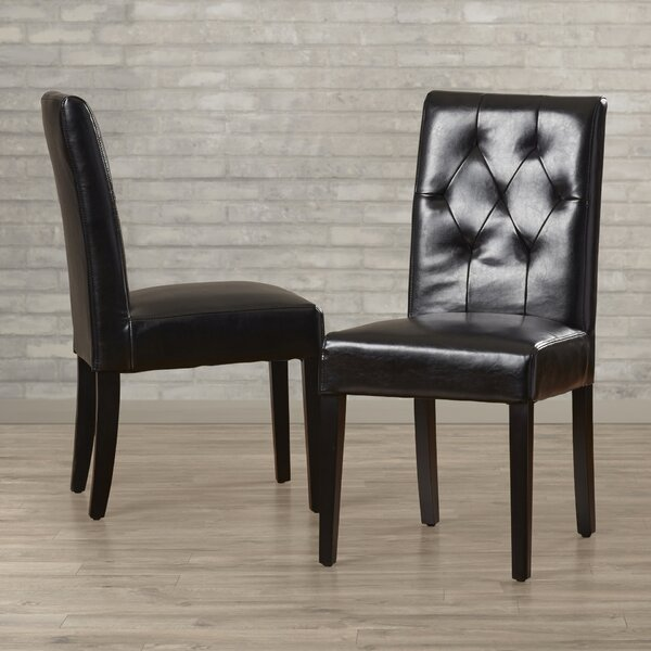 Allegany Bonded Leather Upholstered Dining Chair (Set of 2) by Alcott Hill