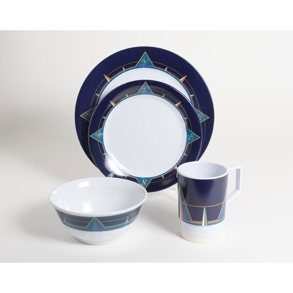 Decorated Melamine Compass 16 Piece Dinnerware Set, Service for 4 by Galleyware Company