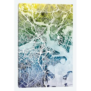 Color Gradient Urban Street Map Series: Boston, Massachusetts, USA Graphic Art on Wrapped Canvas by East Urban Home