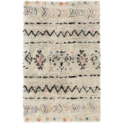 Hylton Hand-Knotted Neutral/Black Area Rug by Mistana