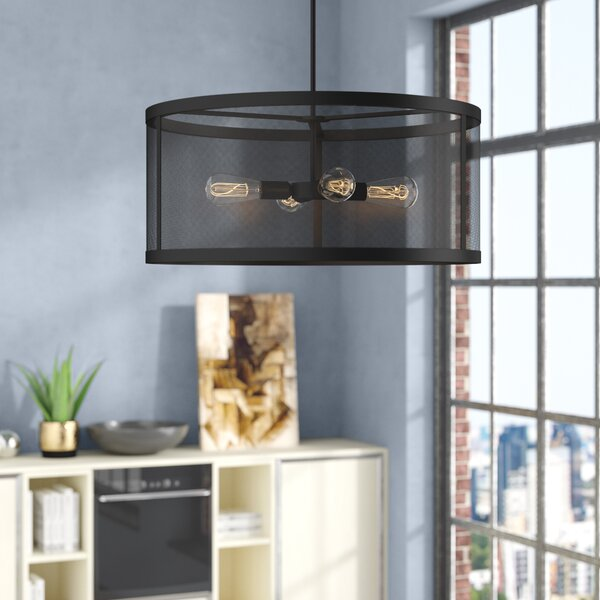 Juhasz 4 - Light Shaded Drum Chandelier By Williston Forge