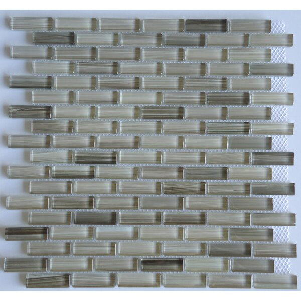 Rosewood 0.63 Slate and Glass Mosaic Tile in Glossy Gray by Mulia Tile