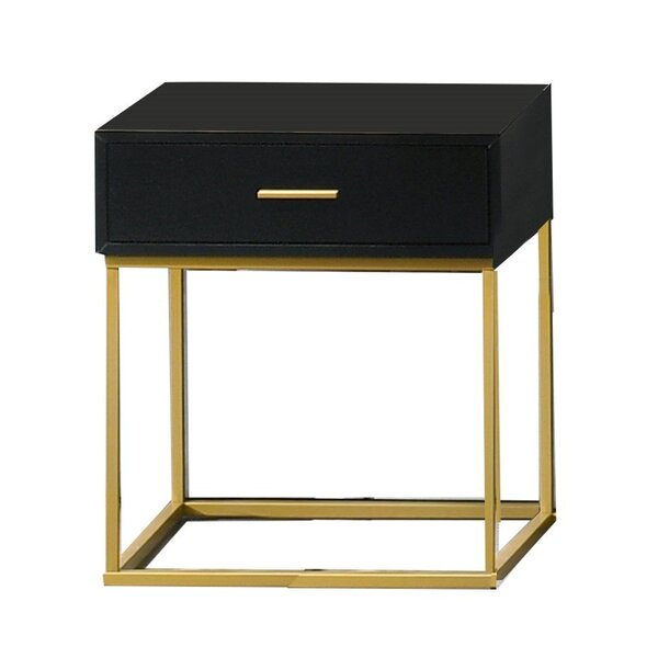 Angelos 1 - Drawer Nightstand in Black/Gold by Everly Quinn Everly Quinn