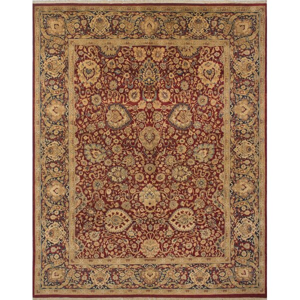 Rosemond Hand Knotted Wool Red/Blue Area Rug by Astoria Grand