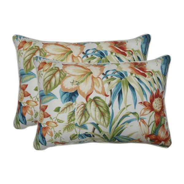 Clewiston Botanical Glow Tiger Lily Indoor/Outdoor Lumbar Pillow (Set of 2)