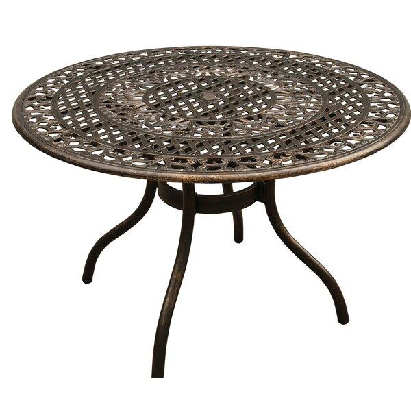 Casas Ornate Mesh Lattice Aluminum Dining Table by Fleur De Lis Living