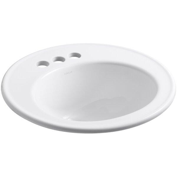 Brookline Ceramic Circular Drop-In Bathroom Sink with Overflow by Kohler