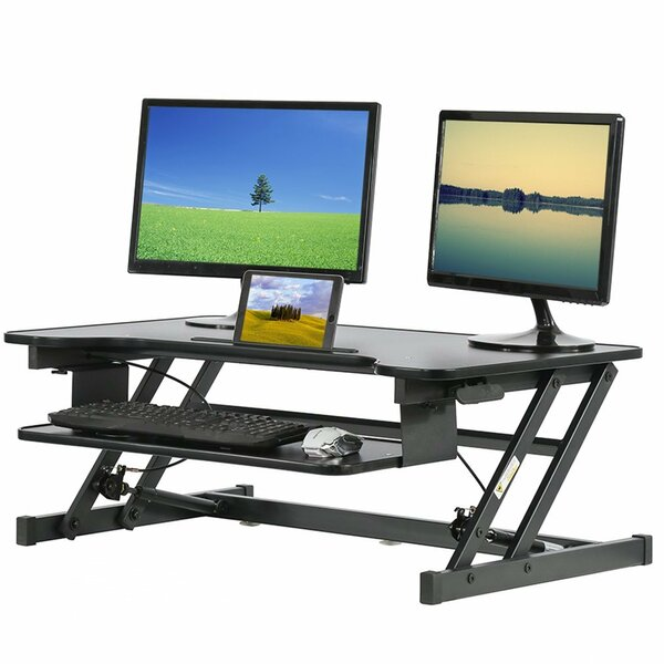 Aniko Height Adjustable L-Shape Standing Desk Converter