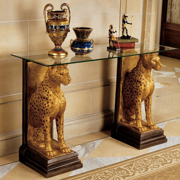 Egyptian Royal Cheetahs Sculptural Glass Topped Console Table by Design Toscano