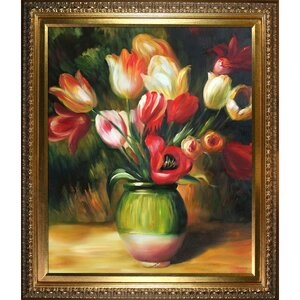 'Tulips in a Vase' by Pierre-Auguste Renoir Framed Oil Painting Print on Canvas by La Pastiche