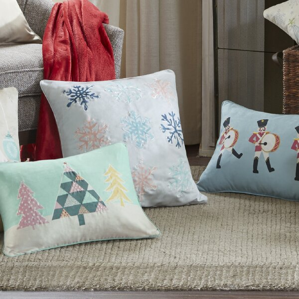 Minty Snowflakes Digital Embroidered Square Throw Pillow by The Holiday Aisle