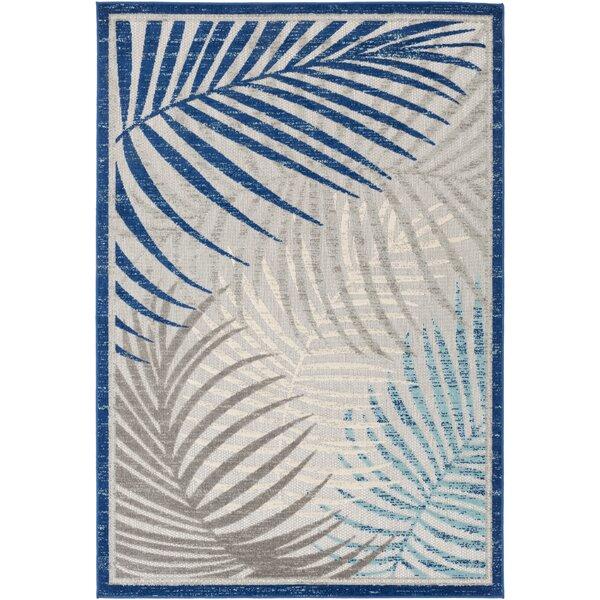 Gillis Floral Dark Blue/Aqua Indoor/Outdoor Area Rug by Bay Isle Home