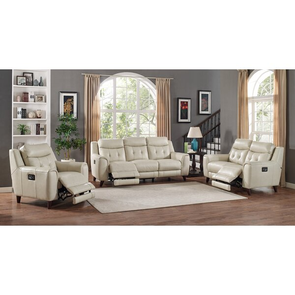 Paramount Reclining Leather 3 Piece Living Room Set by HYDELINE