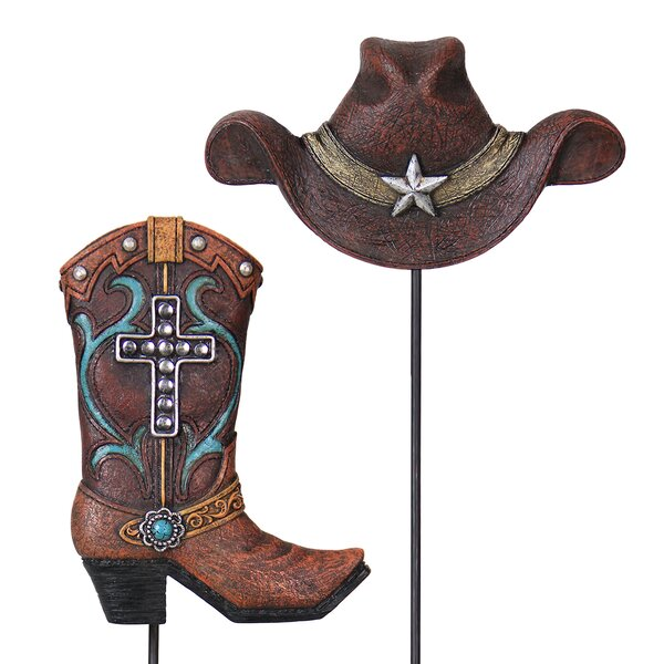 2 Piece Cowboy Hat and Boot Plant Garden Stake Set by Exhart