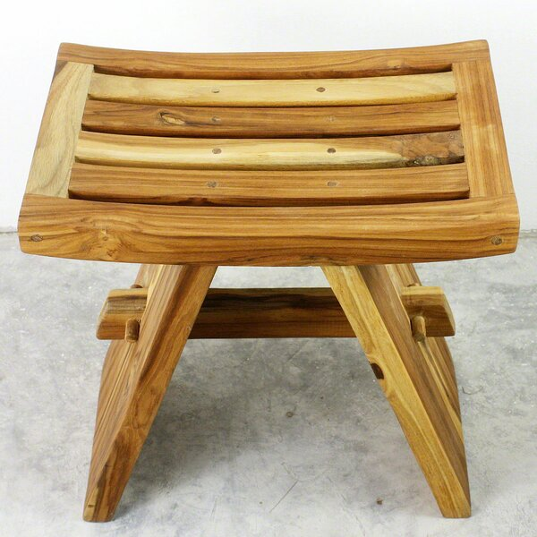 Emerfield Teak Shower Accent Stool by Loon Peak