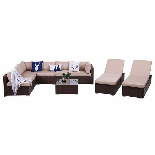 Sulen Outdoor 9 Piece Rattan Sectional Seating Group with Cushions by Latitude Run Latitude Run