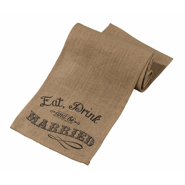 Eat, Drink and Be Married Rustic Burlap Table Runner by Lillian Rose