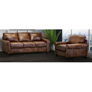 Aghadavy Brown Top Grain Leather Sofa And Chair by Charlton Home®